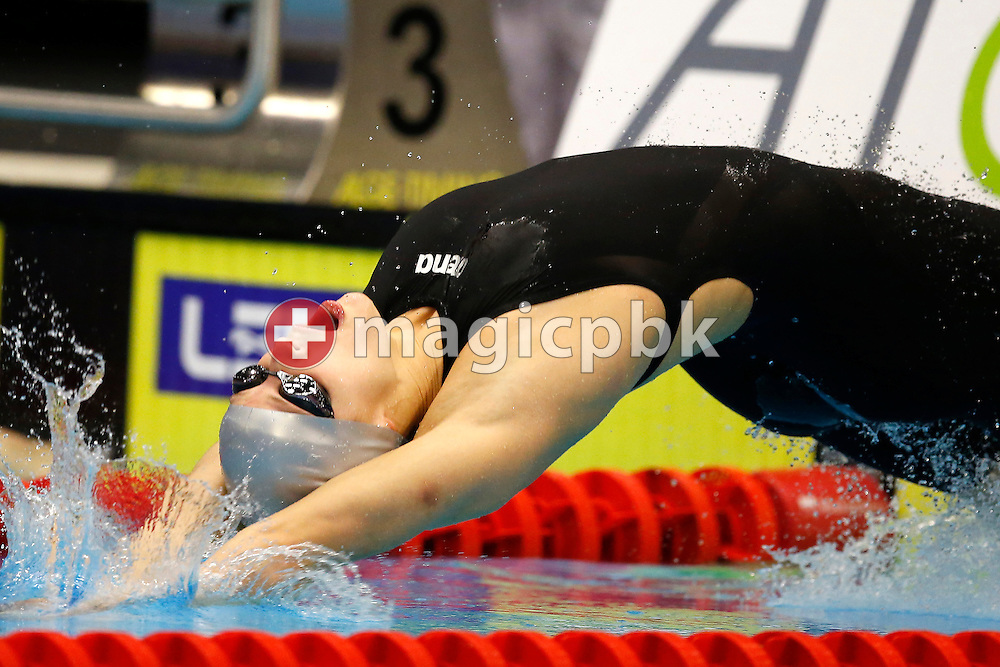 Winner Simona BAUMRTOVA of the Czech Republic competes in the women's 50m Backstroke Final during the 17th European Short Course Swimming Championships held at the Jyske Bank BOXEN in Herning, Denmark, Saturday, Dec. 14, 2013. (Photo by Patrick B. Kraemer / MAGICPBK)