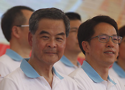 June 28, 2017 - Hong Kong, CHINA - HKSAR Chief Executive Officer Leung Chun Ying ( L ) who will be leaving the office in two days time sit with director of the LIAISON OFFICE OF THE CENTRAL PEOPLES GOVERNMENT IN HONG KONG, Zhang Xiao Ming ( R ) at the Chinese Aeronautics Show in Hong Kong for the celebration of the HANDOVER. June 28, 2017.Hong Kong.ZUMA/Liau Chung Ren (Credit Image: © Liau Chung Ren via ZUMA Wire)