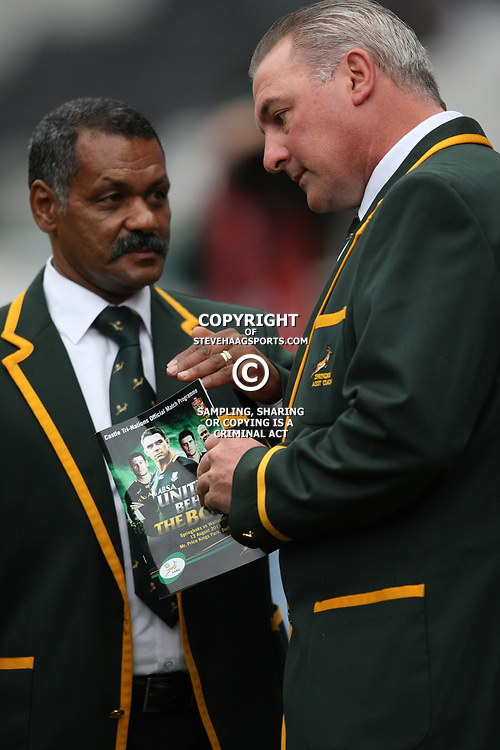 DURBAN, SOUTH AFRICA - AUGUST 13, Peter de Villiers Springbok Head Coach with Gary Gold assistant coach  during the Castle Lager Tri Nations match between South Africa and Australia at Mr Price Kings Park Stadium on August 13, 2011 in Durban, South Africa<br /> Photo by Steve Haag / Gallo Images