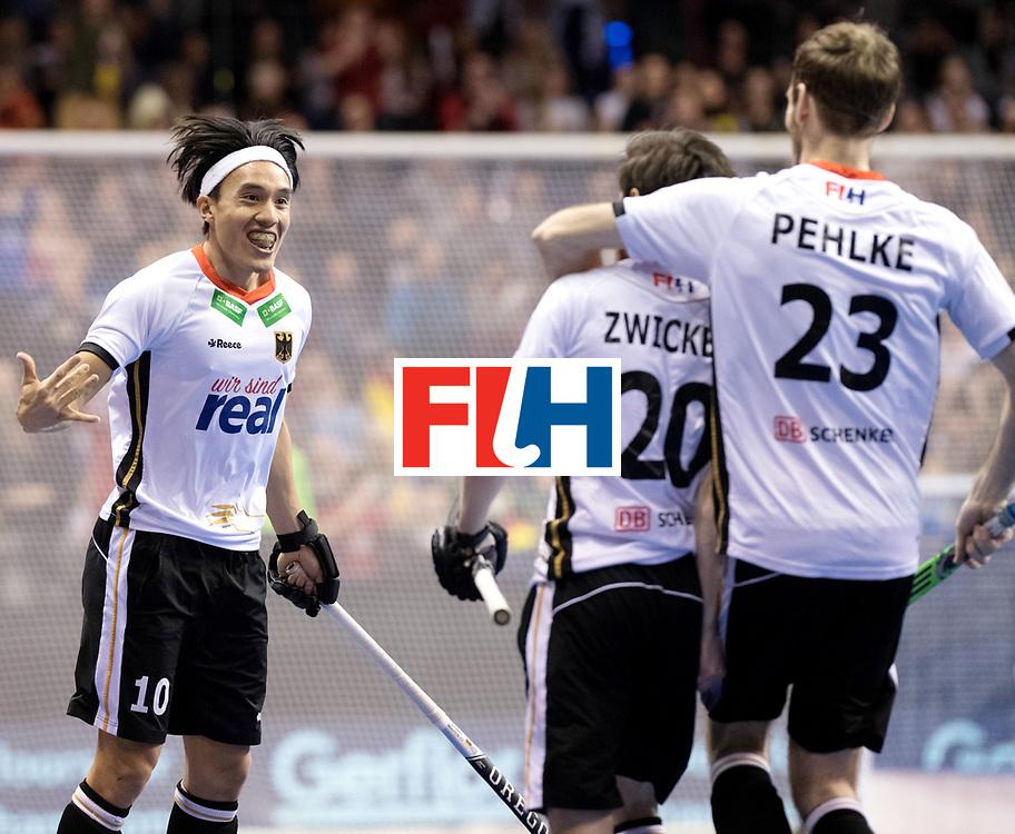 BERLIN - Indoor Hockey World Cup<br /> Final: Germany - Austria<br /> foto: Martin Zwicker scored and celebrates with Dan Nguyen.<br /> WORLDSPORTPICS COPYRIGHT FRANK UIJLENBROEK