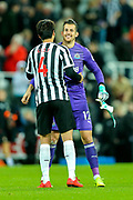 Martin Dubravka (#12) of Newcastle United celebrates with Ki Sung-Yueng (#4) of Newcastle United following Newcastle United's victory (2-1) in the Premier League match between Newcastle United and Bournemouth at St. James's Park, Newcastle, England on 10 November 2018.