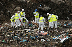 """File photo dated 08/03/17 of police searching a landfill site in Milton, Cambridgeshire, for missing RAF gunner Corrie McKeague who was last seen on Saturday September 24 in Bury St Edmunds, Suffolk, as police searching the landfill site for him, say """"no trace"""" of the serviceman has been found."""