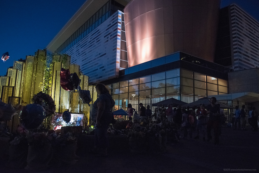 The scene at dusk outside The Muhammad Ali Center, Thursday, June 9, 2016, in Loiuisville, Ky. (Photo by Brian Bohannon)