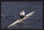 London. United Kingdom. Bill DOWNING. 1990 Scullers Head of the River Race. River Thames, viewpoint Chiswick Bridge Saturday 07.04.1990<br /> <br /> [Mandatory Credit; Peter SPURRIER/Intersport Images] 19900407 Scullers Head, London Engl