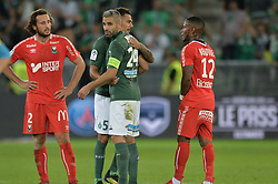 September 22, 2018 - Saint Etienne - Stade Geoffroy, France - Accolades entre Loic Perrin et Thimothee Kolodziejczak (saint etienne) - Paul Baysse et Claudio Beauvue  (Credit Image: © Panoramic via ZUMA Press)