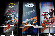 A new fleet of Hot Wheels cars inspired by Star Wars, DC and Marvel are displayed at the New York Toy Fair, Friday, Feb. 12, 2016.  (Photo by Diane Bondareff/AP Images for Mattel)