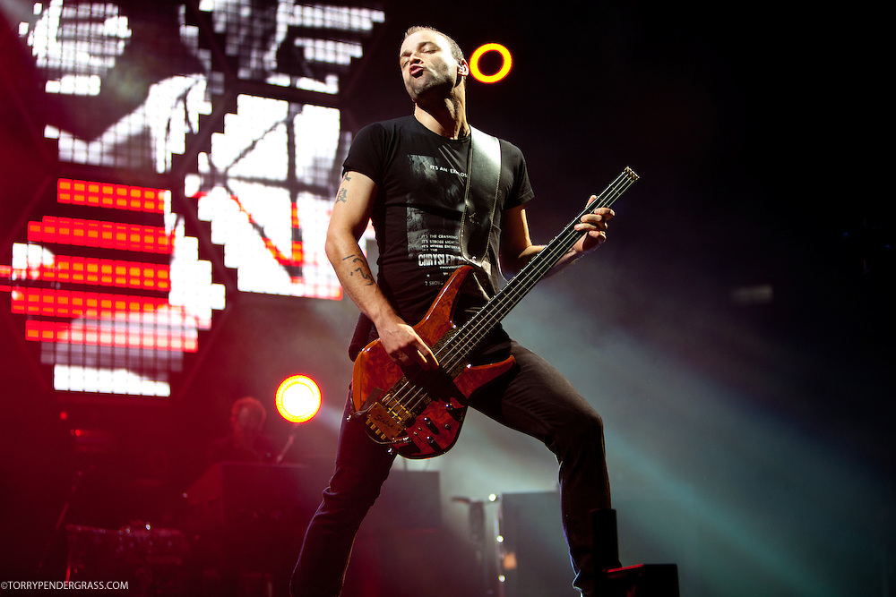 Christopher Wolstenholme of Muse performs during the L.A. Rising Festival at L.A. Coliseum July 30 2011
