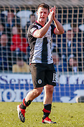 Goalscorer Danny Mullen of St Mirren applauds the fans as he leave the park during the Ladbrokes Scottish Premiership match between St Mirren and Dundee at the Paisley 2021 Stadium, St Mirren, Scotland on 30 March 2019.