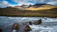 Hraun in Öxnadalur valley, North Iceland. Hraundrangar peaks in background.