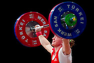 Tima Turieva from Russia lifts in Snatch competition woman's 63 kg Group A during weightlifting IWF World Championships Wroclaw 2013 at Centennial Hall in Wroclaw on October 23, 2013.<br /> <br /> Poland, Wroclaw, October 23, 2013<br /> <br /> Picture also available in RAW (NEF) or TIFF format on special request.<br /> <br /> For editorial use only. Any commercial or promotional use requires permission.<br /> <br /> Mandatory credit:<br /> Photo by © Adam Nurkiewicz / Mediasport