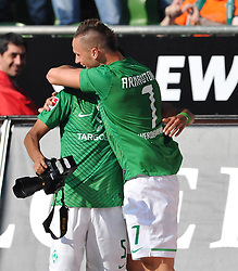 20.08.2011, Weser Stadion, Bremen, GER, 1.FBL, Werder Bremen vs SC Freiburg, im Bild Wesley (Bremen #5) und Marko Arnautovic (Bremen #7) Jubel nach dem 5:3..// during the Match GER, 1.FBL, Werder Bremen vs SC Freiburg on 2011/08/20,  Weser Stadion, Bremen, Germany..EXPA Pictures © 2011, PhotoCredit: EXPA/ nph/  Kokenge       ****** out of GER / CRO  / BEL ******