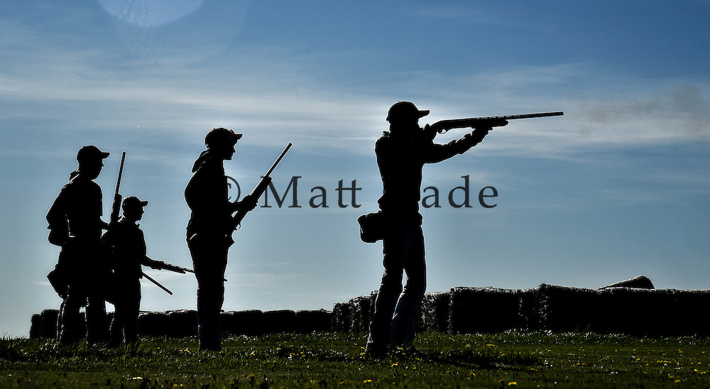 Members of the Platte trap shooting team compete in a reserve meet last Friday in Platte. (Matt Gade/Republic)