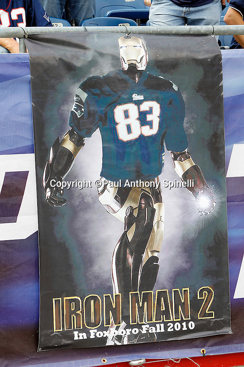 An Iron Man 2 banner hangs on the sideline wall for New England Patriots wide receiver Wes Welker (83) at the NFL regular season week 3 football game against the Buffalo Bills on September 26, 2010 in Foxborough, Massachusetts. The Patriots won the game 38-30. (©Paul Anthony Spinelli)