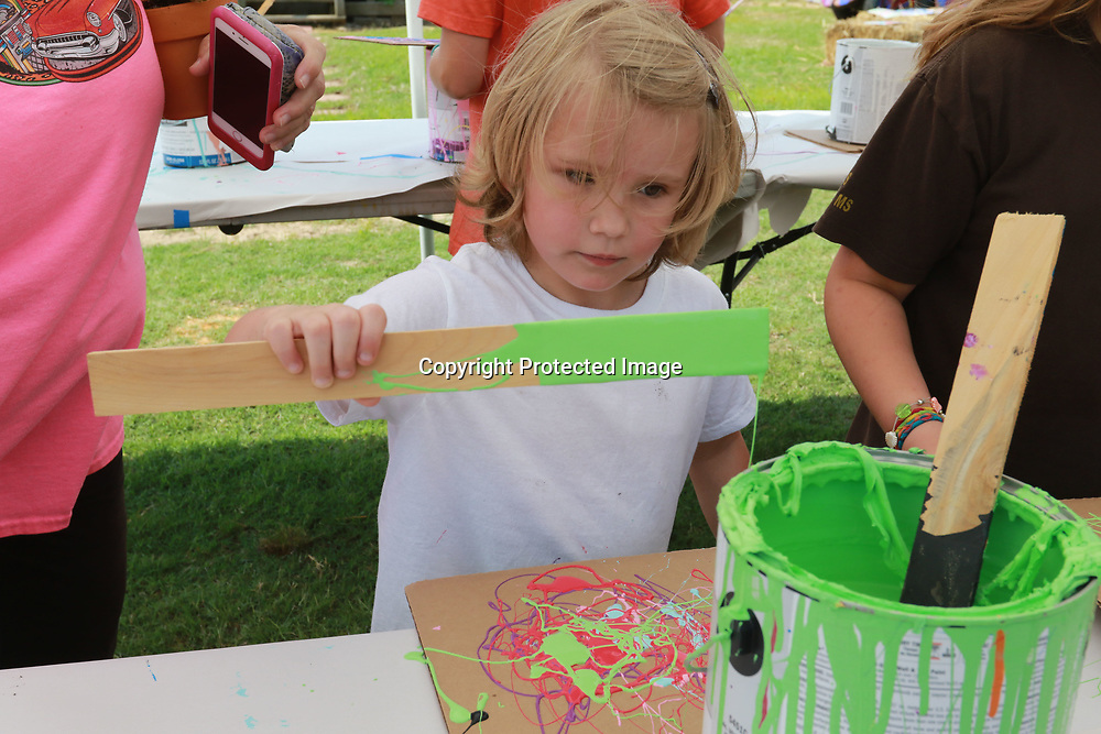LIBBY EZELL | BUY AT PHOTOS.DJOURNAL.COM<br /> Zoe Grace Lanphere, 6, has fun with drip art Saturday at the Arc in the Park event
