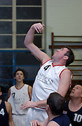 Erkenwald's Declan McCusker reaches to the basket during the game at Eastbury Tigers on Thursday 9th February 2006.