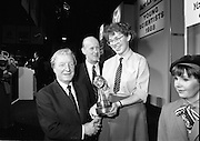 08/01/1988.01/08/1988.8th January 1988 .The Aer Lingus Young Scientist of the Year Award at the RDS, Dublin ..Picture shows the Taoiseach Charles Haughey T.D., David Kennedy, Chief Executive, Aer Lingus and the Young Scientist of the Year, Siobhan Langan-O'Keeffe from Navan Community College, Co. Meath.