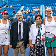 August 22, 2016, New Haven, Connecticut: <br /> Petra Kvitova of the Czech Republic and Louisa Chirico of the United States participate in a coin toss with New Haven Mayor Toni Harp and Yale University President Peter Salovey following the Opening Ceremonies on Day 4 of the 2016 Connecticut Open at the Yale University Tennis Center on Monday August  22, 2016 in New Haven, Connecticut. <br /> (Photo by Billie Weiss/Connecticut Open)