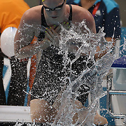 Emily Seebohm, Australia prepares for the Women's 4 x 100m Freestyle relay heats during the swimming heats at the Aquatic Centre at Olympic Park, Stratford during the London 2012 Olympic games. London, UK. 28th July 2012. Photo Tim Clayton