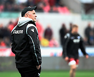 Scarlets' Head Coach Wayne Pivac during the pre match warm up<br /> <br /> Photographer Simon King/Replay Images<br /> <br /> Guinness PRO14 Round 19 - Scarlets v Glasgow Warriors - Saturday 7th April 2018 - Parc Y Scarlets - Llanelli<br /> <br /> World Copyright &copy; Replay Images . All rights reserved. info@replayimages.co.uk - http://replayimages.co.uk