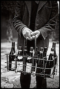winemaker with bottle rack, Rhone, France