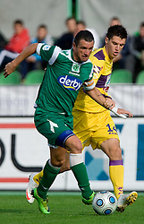 Sebastjan Cimirotic of Olimpija vs Vito Plut of Maribor at 13th Round of Prva Liga football match between NK Olimpija and Maribor, on October 17, 2009, in ZAK Stadium, Ljubljana. Maribor won 1:0. (Photo by Vid Ponikvar / Sportida)