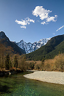 Blandshard and Edge Peaks rise above Gold Creek at Golden Ears Provincial Park in Maple Ridge, British Columbia, Canada