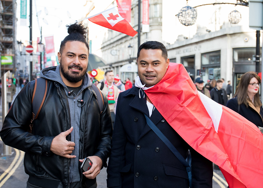 Tonga fans outside of the stadium <br /> <br /> Photographer Simon King/Replay Images<br /> <br /> Under Armour Series - Wales v Tonga - Saturday 17th November 2018 - Principality Stadium - Cardiff<br /> <br /> World Copyright © Replay Images . All rights reserved. info@replayimages.co.uk - http://replayimages.co.uk