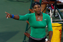 July 30, 2011; Stanford, CA, USA;  Serena Williams (USA) celebrates after the match against Sabine Lisicki (GER), not pictured, during the semifinals of the Bank of the West Classic women's tennis tournament at the Taube Family Tennis Stadium. Williams defeated Lisicki 6-1, 6-2.