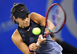 WUHAN, Sept. 27, 2017 Caroline Garcia of France returns the ball during the singles third round match against Dominika Cibulkova of Slovakia at 2017 WTA Wuhan Open in Wuhan, capital of central China's Hubei Province, on Sept. 27, 2017. Caroline Garcia won 2-0.  wdz) (Credit Image: © Cheng Min/Xinhua via ZUMA Wire)