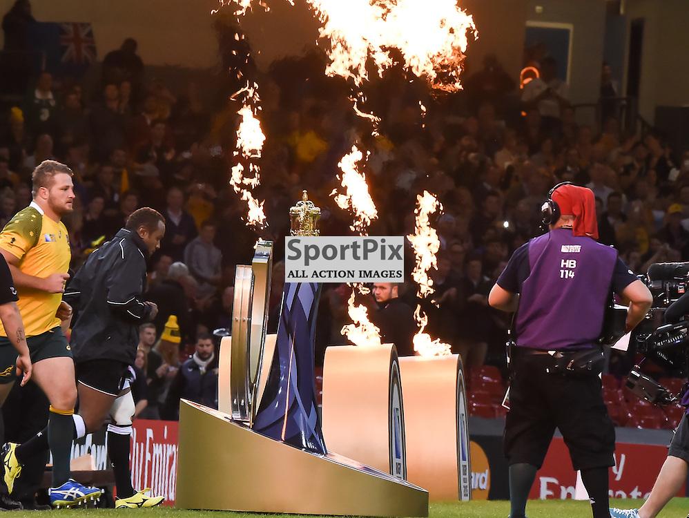 The players enter the pitch amid pyrotechnics (c) Simon Kimber | SportPix.org.uk