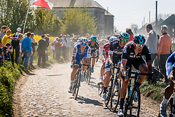 Peloton with TRENTIN Matteo of Quick-Step Floors during the 115th Paris-Roubaix (1.UWT) from Compiègne to Roubaix (257 km) at cobblestones sector 29 from Troisvilles to Inchy, France, 9 April 2017. Photo by Pim Nijland / PelotonPhotos.com | All photos usage must carry mandatory copyright credit (Peloton Photos | Pim Nijland)