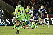 Marland Yarde makes a break during the Aviva Premiership match between Sale Sharks and Northampton Saints at the AJ Bell Stadium, Eccles, United Kingdom on 25 November 2017. Photo by George Franks.