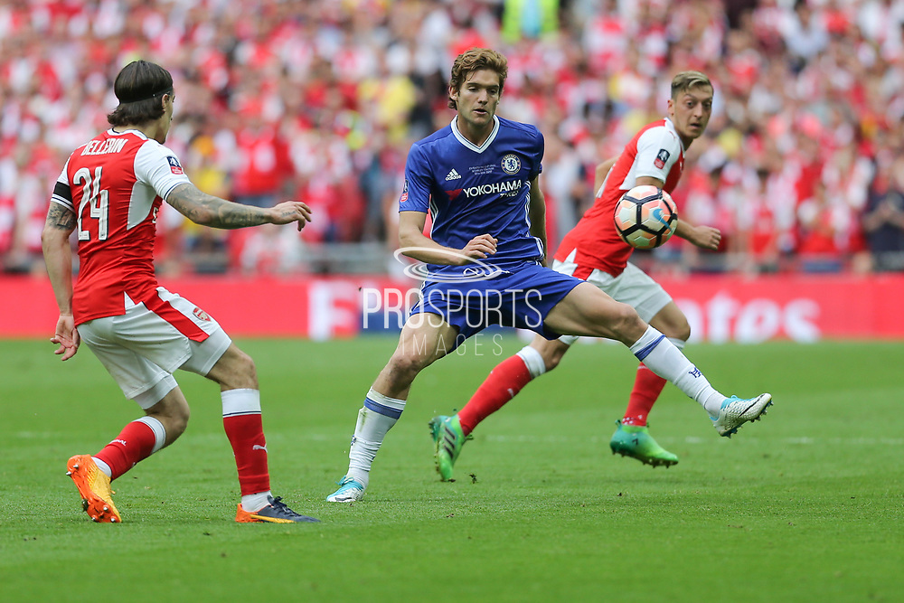 Arsenal's Héctor Bellerín(24) passes the ball forward during the The FA Cup final match between Arsenal and Chelsea at Wembley Stadium, London, England on 27 May 2017. Photo by Shane Healey.