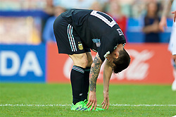 MOSCOW, RUSSIA - Saturday, June 16, 2018: Argentina's Lionel Messi looks dejected during the FIFA World Cup Russia 2018 Group D match between Argentina and Iceland at the Spartak Stadium. Messi missed a penalty in a game that finished in a 1-1 draw. (Pic by David Rawcliffe/Propaganda)
