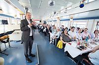 05 JUN 2018, BERLIN/GERMANY:<br /> Olaf Scholz, SPD, Bundesfinanzminister, spricht zu den Teilnehmern der Spargelfahrt des Seeheimer Kreises der SPD, Anleger Wannsee<br /> IMAGE: 20180605-01-131<br /> KEYWORDS: Rede, speech