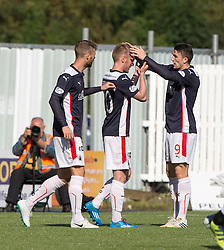 Falkirk's Craig Sibbald cele scoring their goal.<br /> half time : Falkirk 1v 0 Dumbarton, Scottish Championship game played 20/9/2014 at The Falkirk Stadium .