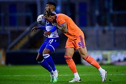 Jonah Ayunga of Bristol Rovers is challenged by Aden Flint of Cardiff City - Mandatory by-line: Ryan Hiscott/JMP - 28/08/2020 - FOOTBALL - Memorial Stadium - Bristol, England - Bristol Rovers v Cardiff City - Pre Season Friendly