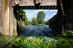 UK ENGLAND WILTSHIRE 26JUN08 - Detail of water flowing through a sluice in the river Kennet near Stichcoombe in rural Wiltshire, western England...jre/Photo by Jiri Rezac / WWF UK..© Jiri Rezac 2008..Contact: +44 (0) 7050 110 417.Mobile:  +44 (0) 7801 337 683.Office:  +44 (0) 20 8968 9635..Email:   jiri@jirirezac.com.Web:     www.jirirezac.com..© All images Jiri Rezac 2008 - All rights reserved.