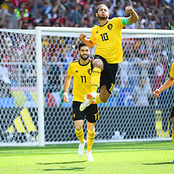 Eden Hazard of Belgium celebrates scoring his penalty during the FIFA World Cup Group G match between Belgium and Tunisia at Spartak Stadium on June 23, 2018 in Moscow, Russia. (Photo by Anthony Dibon/Icon Sport)
