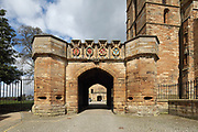 Entrance, built by king James V c. 1533 to give access to the outer enclosure, to Linlithgow Palace, built 15th century under king James I, and rebuilt 1618-22 by king James VI, a royal palace and residence for Scottish monarchs, in West Lothian, Scotland. Above the entrance are the 4 European orders of chivalry to which James V belonged, the Order of the Garter, Order of the Thistle, Order of the Golden Fleece and Order of St Michael. Mary Queen of Scots was born here. The palace was a resting place for Stuart royalty travelling between Edinburgh and Stirling. The Renaissance style palace was burned in 1746 and has since been restored and is now run by Historic Environment Scotland. Picture by Manuel Cohen
