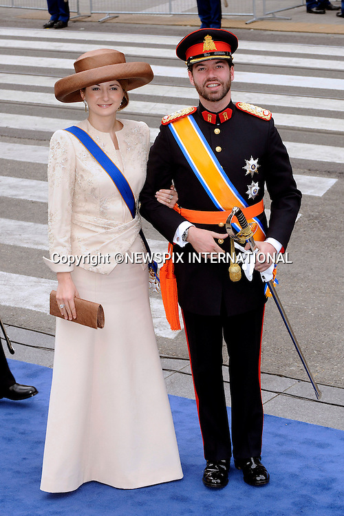 """30.04.2013; Amsterdam: KING WILLEM-ALEXANDER INAUGURATION.PRINCE GUILLAUME AND COUNTESS STEPHANIE OF LUXEMBOURG.attend King Willem-Alexander's inauguration at Nieuwe Kerk, Amsterdam, The Netherlands, .Mandatory Credit Photos: ©NEWSPIX INTERNATIONAL..**ALL FEES PAYABLE TO: """"NEWSPIX INTERNATIONAL""""**..PHOTO CREDIT MANDATORY!!: NEWSPIX INTERNATIONAL(Failure to credit will incur a surcharge of 100% of reproduction fees)..IMMEDIATE CONFIRMATION OF USAGE REQUIRED:.Newspix International, 31 Chinnery Hill, Bishop's Stortford, ENGLAND CM23 3PS.Tel:+441279 324672  ; Fax: +441279656877.Mobile:  0777568 1153.e-mail: info@newspixinternational.co.uk"""