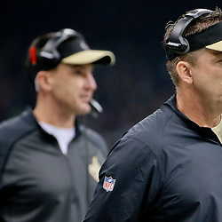 Dec 6, 2015; New Orleans, LA, USA; New Orleans Saints head coach Sean Payton and defensive coordinator Dennis Allen during the first quarter of a game against the Carolina Panthers at Mercedes-Benz Superdome. Mandatory Credit: Derick E. Hingle-USA TODAY Sports