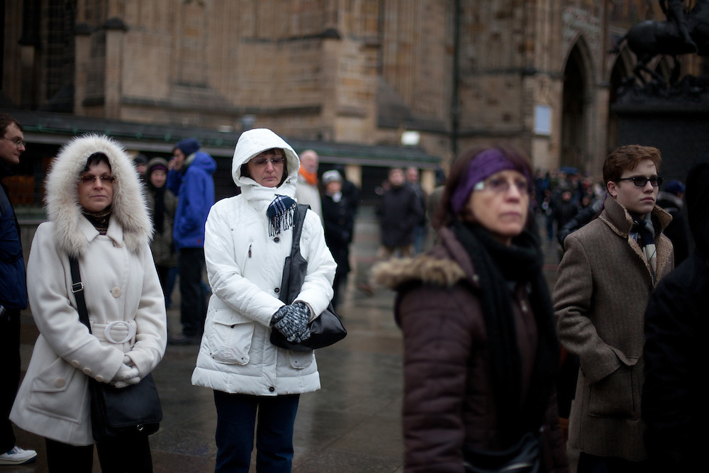 About 10000 Czech citizens accompanied the remains of Vaclav Havel from the Old Town part in Prague across Charles Bridge   up to Prague Castle, the seat of Czech presidents. Mourners are watching a big screen projection of the mourning ceremony for former President Vaclav Havel at Prague Castle.
