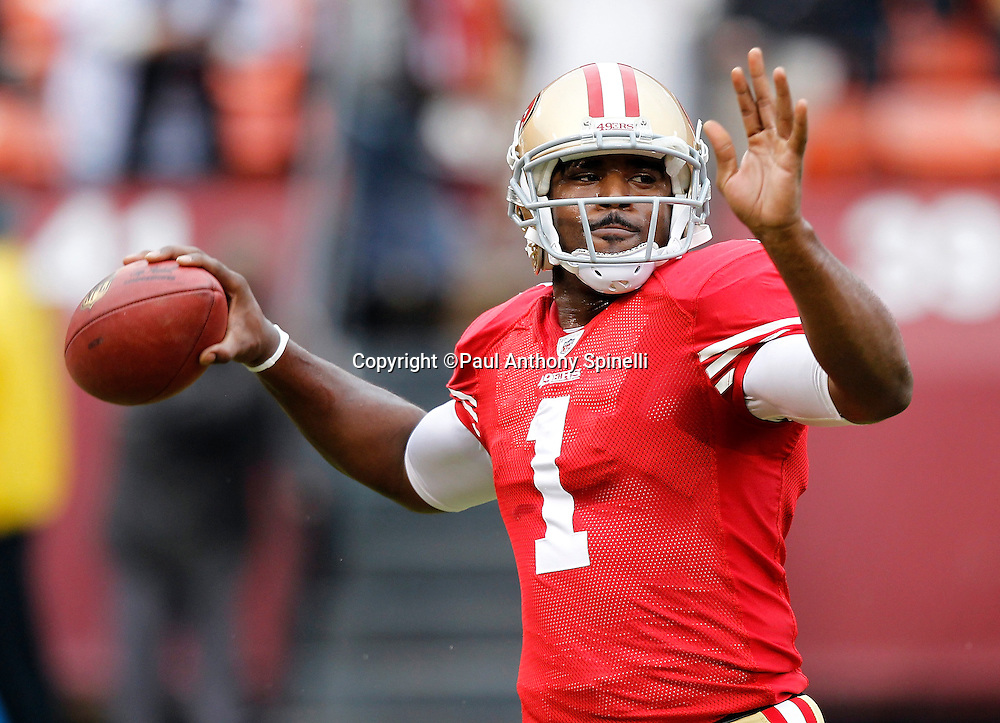 San Francisco 49ers quarterback Troy Smith (1) throws a pregame pass during the NFL week 17 football game against the Arizona Cardinals on Sunday, January 2, 2011 in San Francisco, California. The 49ers won the game 38-7. (©Paul Anthony Spinelli)