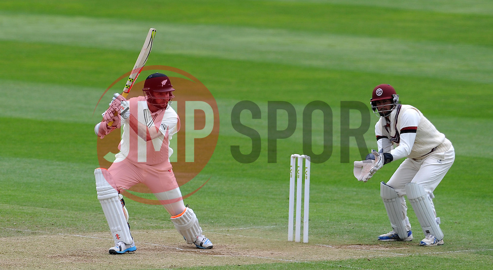 New Zealand's Mark Craig drives the ball. Photo mandatory by-line: Harry Trump/JMP - Mobile: 07966 386802 - 10/05/15 - SPORT - CRICKET - Somerset v New Zealand - Day 3- The County Ground, Taunton, England.