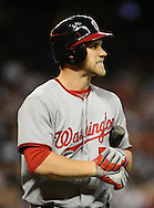 Aug. 10, 2012; Phoenix, AZ, USA; Washington Nationals outfielder Bryce Harper (34) reacts after striking out at the game against the Arizona Diamondbacks at Chase Field.  Mandatory Credit: Jennifer Stewart-US PRESSWIRE