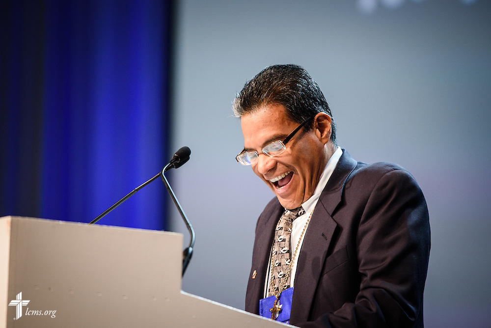 The Rev. Adolfo Borges, associate pastor at Prince of Peace Lutheran Church in Orlando, Fla., speaks Thursday, July 14, 2016, at the 66th Regular Convention of The Lutheran Church–Missouri Synod, in Milwaukee. LCMS/Frank Kohn