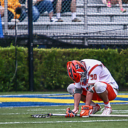 Syracuse Midfielder AUSTIN FUSCO (90) kneels in disbelief as Towson defeated #2 Syracuse 10-7 in the 2017 NCAA Division I Men's Lacrosse Quarterfinals Sunday, May. 21, 2017 at Delaware Stadium in Newark, Delaware.