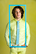 Look book photo for Clair Drennan Knitwear of male model wearing knitted tie by Gerard Harrison, Image Theory Photoworks, Houston, Texas