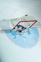 KELOWNA, CANADA - NOVEMBER 11: James Porter #1 of the Kelowna Rockets defends the net against the Red Deer Rebels on November 11, 2017 at Prospera Place in Kelowna, British Columbia, Canada.  (Photo by Marissa Baecker/Shoot the Breeze)  *** Local Caption ***